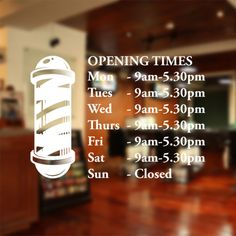 Barber shop opening times window sticker wall decal custom bb18 in Business, Office & Industrial, Retail & Shop Fitting, Signs | eBay
