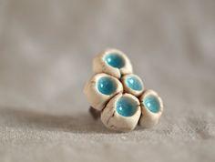 Porcelain Cup Fungus Ring  Adjustable copper par peifferStudios