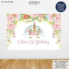 The Backdrop is an important element of any dessert table, because it really sets the tone for your theme. This listing is for a Floral Unicorn Backdrop / Any colors of your choice / For any type of event - WE CAN INCLUDE WORDING BACKDROP OVERVIEW –––––––––––––––––––––––––– - Digital
