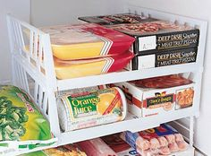 Freezer shelves and other great DIY and Buy organizational tips for the fridge/freezer