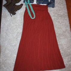 Rust  - Maxi Skirt Rust colored maxi skirt with a yoga waist. Soft knit jersey fabric. Size Medium. Skirts Maxi