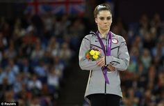 This is of Maroney as she won silver instead of gold for the vault became an internet hit!  Love this pic.  Olympics 2012- London, England