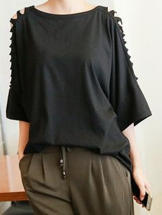 Shop Black Cut Out 3/4 Sleeve Loose T-shirt from choies.com .Free shipping Worldwide.$16.19