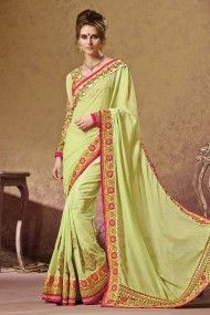 Silk and Georgette Heavy Embroidery Designer Saree In Light Green Colour