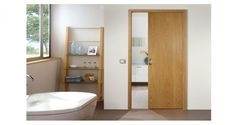 Find Your Perfect Wooden Pocket Doors Ideas For Winning Interior Room Design : Amazing Wooden Pocket Doors Ideas In Stunning Bathroom Design Feats Charming White Bathtub Also Awesome Wooden Bathroom Rack Shelf Ideas Glass Pocket Doors, Sliding Pocket Doors, Glass Barn Doors, Front Doors, Entry Doors, Oak Doors, Sliding Bathroom Doors, Modern Sliding Doors, Sliding Closet Doors