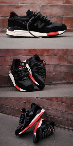 New Balance 998 - Black/Red Kith NYC Exclusive- yes please! New Balance 998, New Balance Herren Sneaker, New Balance Damen, New Balance Sneakers, Nb Sneakers, Sneakers Fashion, Black Sneakers, Nike Outfits, New Balance Outfit