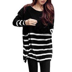 Allegra K Women Stripe Oversized Boyfriend Knit Tunic Black & White (Size XL / 16)