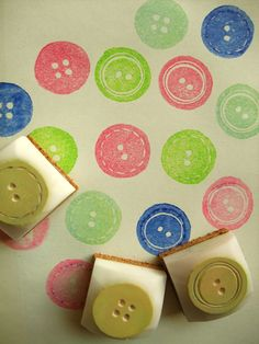 hand carved - rubber stamp set - a set of 3 buttons -
