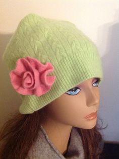 A personal favorite from my Etsy shop https://www.etsy.com/listing/253435256/lime-green-cashmere-hat-sleeping-or-wear