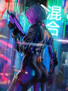Ready to kill Cyberpunk female assassin woman holding a gun, weapon from back perspective, cyberpunk android character design concept art illustration in a futuristic modern city environment