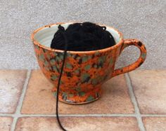 Yarn bowl knitting or crochet wool hand thrown by CaractacusPots