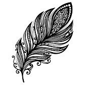 plumes dessin : Plume Peerless Vecteur décoratif, conception modelée, Tatouage Illustration