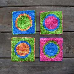"""Circles in Circles Coasters by Theresa Pulido. Featured in the """"Hook, Loop & Lock"""" book."""