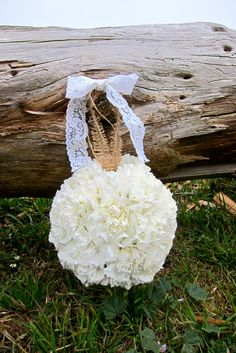 White Carnation Pomander Balls for the flower girl! #MichaelDaigianDesign #weddings #flowers