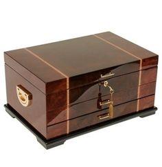 Anti Tarnish Rustic Burl Wood Jewelry Box Chest, Walnut Inlay