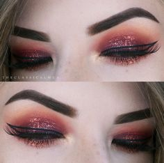 We're loving this cranberry shadow and graphic liner look created with our Meet Matt(e)Trimony palette and Schwing liquid eyeliner by @theclassicalmua! So beautiful!