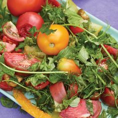 (Omit oil) Heirloom Tomato and Herb Salad - This salad brings out the best in seasonal produce and fresh herbs. A simple drizzle of white balsamic vinegar and some salt and pepper make the natural flavors shine.