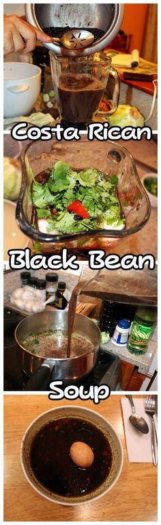 Sopa negra recipe - Costa Rican black bean soup. Quick easy and healthy dish that makes for a hearty meal especially on those cold nights. Get the full recipe here: http://mytanfeet.com/costa-rican-food/sopa-negra-costa-rican-black-bean-soup-recipe/