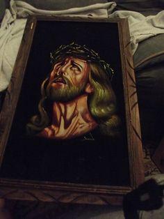 VINTAGE JESUS CHRIST PAINTING ON BLACK VELVET Handcrafted Wood Frame