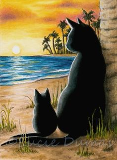 ACEO miniature art print from art painting black Cat 597 sunset sea by L.Dumas