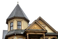 Architectural detail and turret on Victorian house in Syracuse, NY.