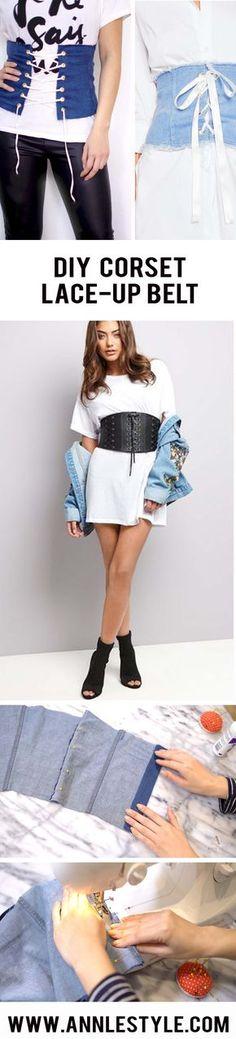 DIY Denim Lace-up Corset Belt   Fashion / trend / style / outfit ideas