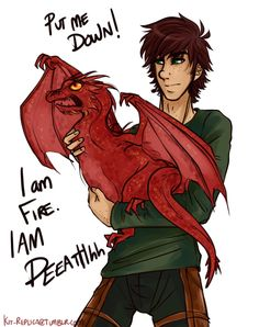 Hiccup and Smaug < This is hilarious. Lol. :)
