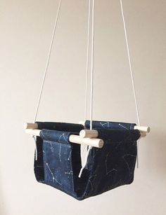 Gold Silver and Navy Constellations Fabric Baby and by Cyandegre Constellations, Baby Swings, Wood Interiors, Nursery Inspiration, Kids Decor, Modern Decor, Beams, Interior Decorating, Fabric