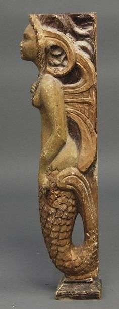 Old Carved Wood Decorated Folk Art Mermaid Figure : Lot 213