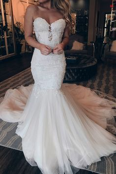 2019 Sweetheart neckline Tulle Mermaid Wedding Dress with Appliques, Sexy Sleeveless Bridal Dresses Wedding Dress Mermaid Lace, Lace Bridal, Mermaid Dresses, Lace Mermaid, Dress Lace, Tulle Lace, Sheer Dress, Western Wedding Dresses, Long Wedding Dresses