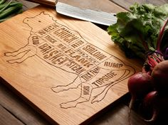 Neat cutting board - kitchen feature! ETSY:Wooden Beef Butcher Diagram Cutting Board - 12x16 - Laser Engraved - Foodie, Dad, Mom, Barbecue, Couple, Wedding