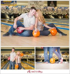 Engagement photo session in bowling center San Diego by Red Trolley Studio, Bowling game on engagement, Engagement photography ideas