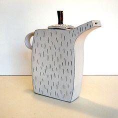 handbuilt porcelain teapot with underglaze by gonetopottexas
