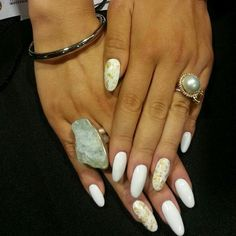 black white and gold oval nails