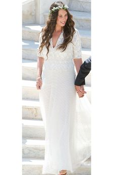 Tatiana of Monaco kept true to her style and wore a hippie chic bridal gown by Missoni @weddingchicks