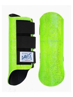 Davis splint jumping boots in metallic neon lime green glitter. $39.90 + postage.    Horse Feathers Saddlery: horsefeatherssaddlery@gmail.com