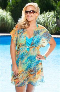 Cute coverup..... Garden Sunset Chiffon Tunic #fatkini #plussize #swimwear