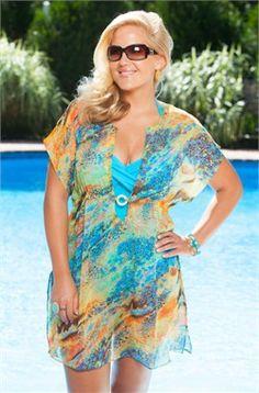 Cute coverup..... Garden Sunset Chiffon Tunic #fatkini #plussize #swimwear