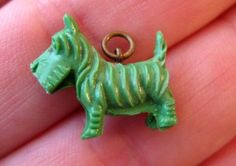 40's VINTAGE Celluloid GREEN SCOTTIE DOG Cracker Jack Charm Toy Prize