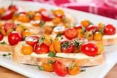 Warm Tomato and Mozzarella Bruschetta