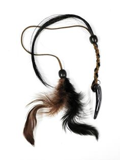 Tribal Bohemian Style Clip in Feather Hair Extensions with beads