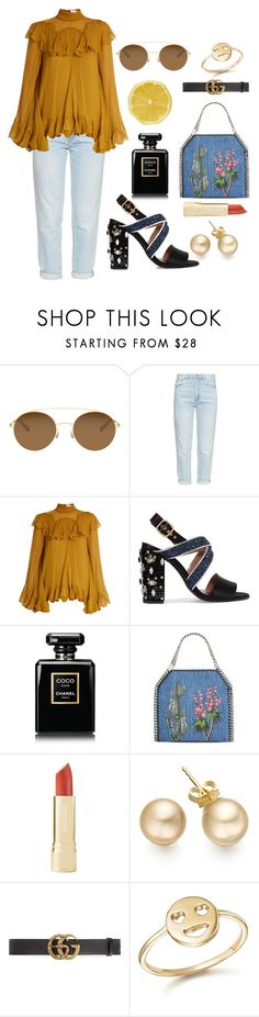 """""""Untitled #535"""" by dolrebeca ❤ liked on Polyvore featuring Mykita, M.i.h Jeans, Chloé, Marni, Chanel, STELLA McCARTNEY, Gucci and Bing Bang"""