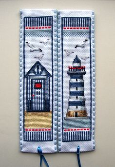 ARM - Patrón o molde _Marca páginas en punto de cruz ///     Vervaco cross stitch bookmarks-Beach Hut & Lighthouse                                                                                                                                                    More