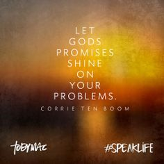 Let God's promises shine on your problems. ~Corrie Ten Boom