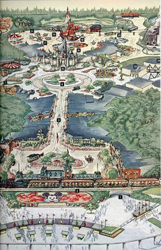 """Panel 2 from a Disneyland map from the Aug 1963 National Geographic feature article """"The Magic Worlds of Walt Disney"""" Disney Map, Disneyland Map, Walt Disney Co, Vintage Disneyland, Old Disney, Disney Posters, Disney Trips, Disney Love, Disney Parks"""