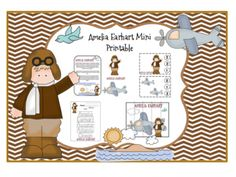 Amelia Earhart Mini Printable -  Concepts include Patterns, Numbers, Colours, Sequencing, Size, Letters, and more. 16 pages