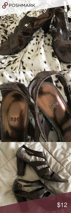 """Brown Faux snake block heel sandal size 9 1/2 Preloved, maybe wore 3 times, these great looks king sandals have 3.5"""" blue coats heels which make them great for all day wear IMPO Shoes Sandals"""