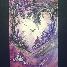 aceo original fantasy landscape with trees by teabreaks on Etsy, $5.00