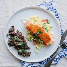 Pan-Roasted Salmon with Collards and Radish Raita Recipe - Bon Appétit