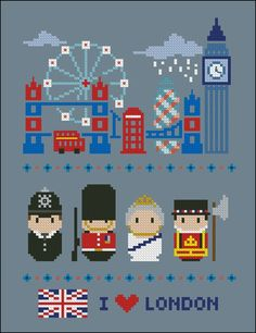 London icons (big version) - Mini people around the world - Cross Stitch Patterns - Products